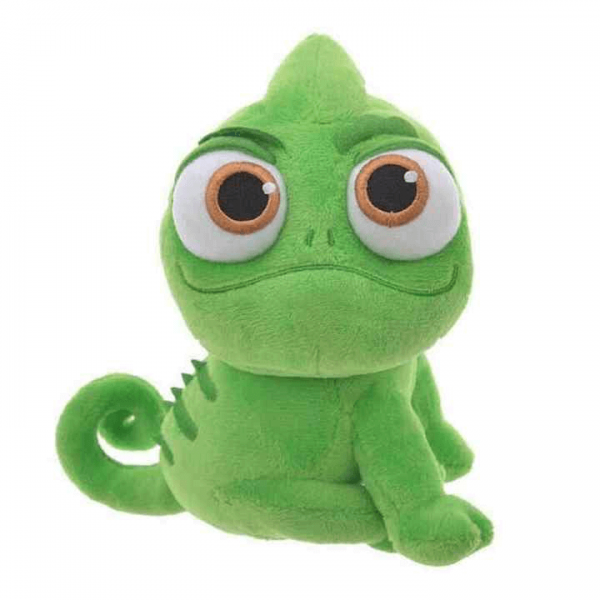 Pascal the Chameleon from Tangled plush toy in a seated position looking towards the camera